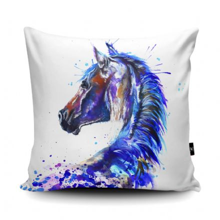 Splatter Stallion Print vegan faux suede cushion with a Fibre Inner by Katherine Williams